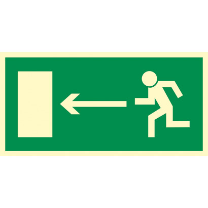 """Znak ewakuacyjny """"Kierunek do wyjścia drogi ewakuacyjnej w lewo"""""""