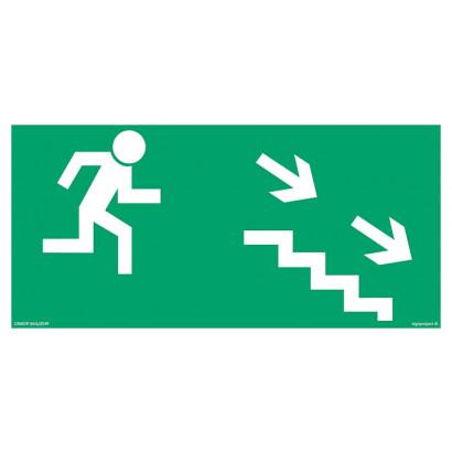 Kierunek do wyjścia drogi ewakuacyjnej schodami w dół w prawo
