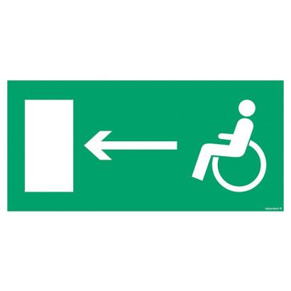 Kierunek do wyjścia drogi ewakuacyjnej dla niepełnosprawnych w prawo