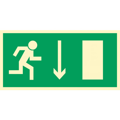 Kierunek do wyjścia drogi ewakuacyjnej w dół (znak uzupełniający)