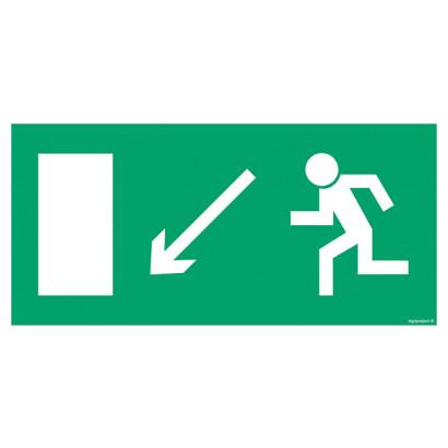 Kierunek do wyjścia drogi ewakuacyjnej w dół w prawo (znak uzupełniający)
