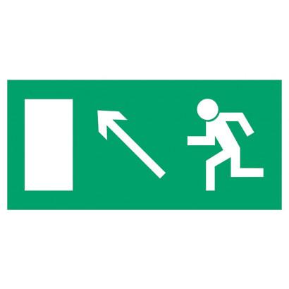 Kierunek do wyjścia drogi ewakuacyjnej w górę w prawo (znak uzupełniający)