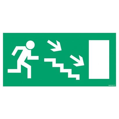 Kierunek do wyjścia drogi ewakuacyjnej w górę w lewo (znak uzupełniający)