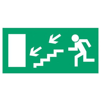Kierunek do wyjścia drogi ewakuacyjnej schodami w dół w prawo (znak uzupełniający)