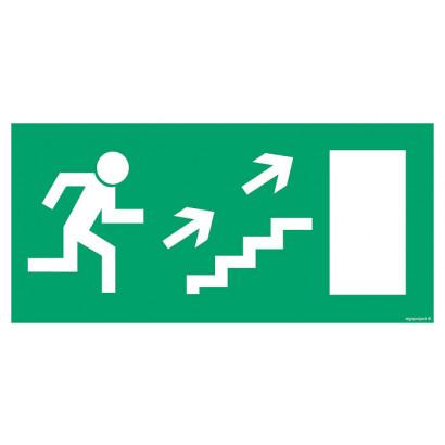 Kierunek do wyjścia drogi ewakuacyjnej schodami w górę w lewo (znak uzupełniający)
