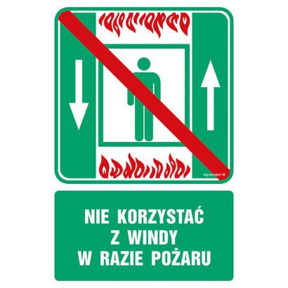 Zakaz korzystania z dźwigu osobowego w razie pożaru