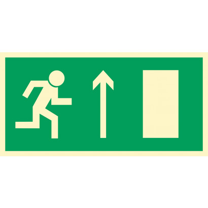 Kierunek do wyjścia drogi ewakuacyjnej w górę (znak uzupełniający)