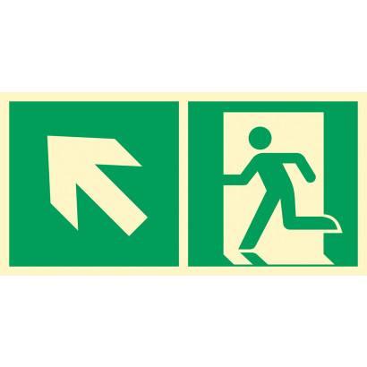 Kierunek do wyjścia ewakuacyjnego w górę w lewo