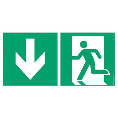 Kierunek do wyjścia ewakuacyjnego w dół lewostronny