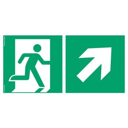 Kierunek do wyjścia ewakuacyjnego w górę w prawo