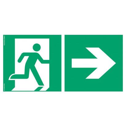 Kierunek do wyjścia ewakuacyjnego w prawo