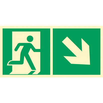 Kierunek do wyjścia ewakuacyjnego w dół w prawo