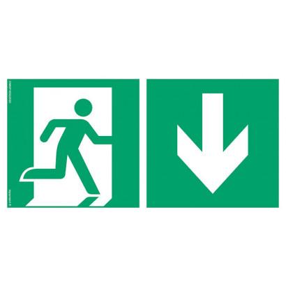 Kierunek do wyjścia ewakuacyjnego w dół prawostronny