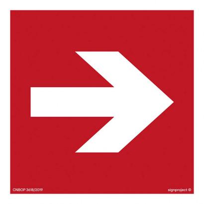 Kierunek do miejsca rozmieszczenia sprzętu pożarniczego lub urządzenia ostrzegającego