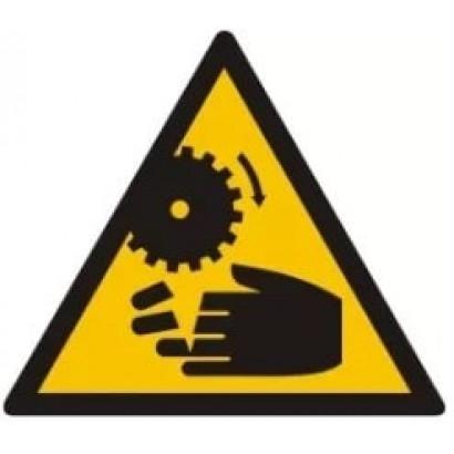 Ostrzeżenie przed możliwością obcięcia palców przez wirujące elementy