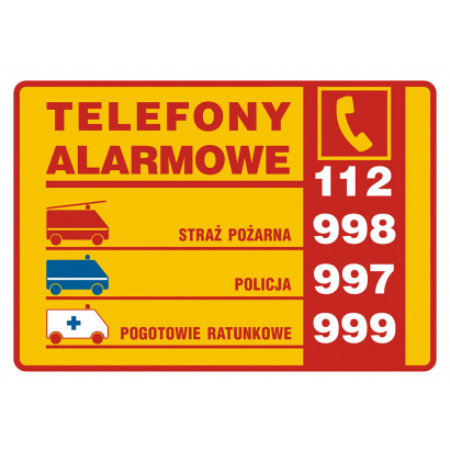 Tabliczki telefonów alarmowych
