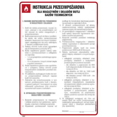 Instrukcja przeciwpożarowa dla magazynów i składów butli gazów technicznych