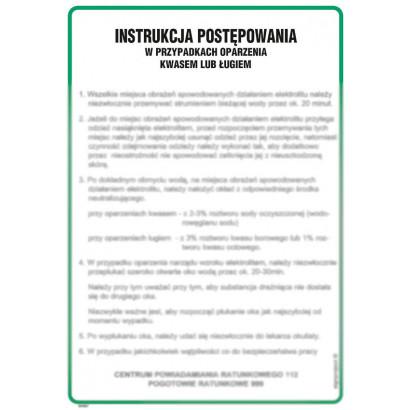 Instrukcja postępowania w przypadku oparzenia kwasem lub ługiem