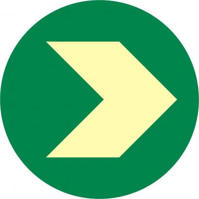 Krążek ewakuacyjny z zaznaczeniem kierunku podłogowy