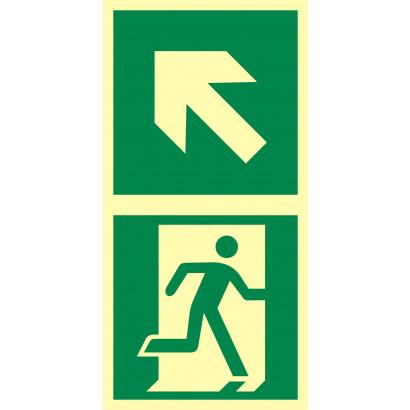 Kierunek do drzwi ewakuacyjnych w lewo w górę