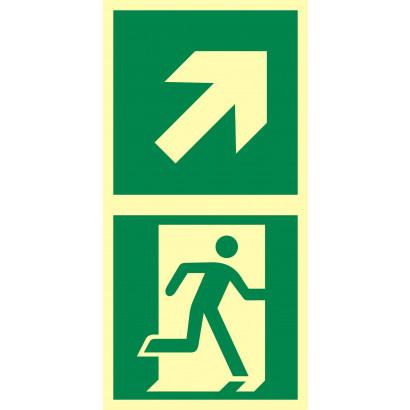 Kierunek do drzwi ewakuacyjnych w prawo w górę
