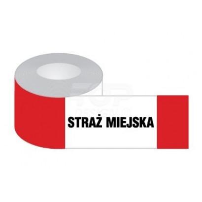 Taśma odgradzająca biało-czerwona STRAŻ MIEJSKA, jednostr.