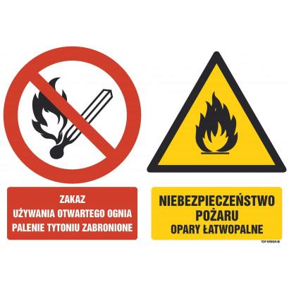 Znak - Zakaz używania otwartego ognia,palenie tytoniu zabronione Niebezpieczeństwo pożaru opary łatwopalne GM002