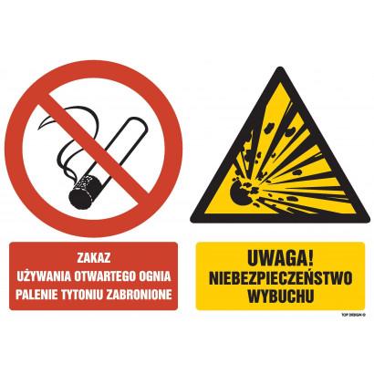 Znak - Zakaz używania otwartego ognia palenie tytoniu zabronione Uwaga Niebezpieczeństwo wybuchu GM005