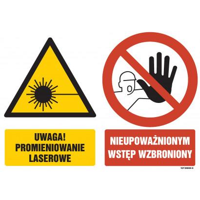 Znak - Uwaga promieniowanie laserowe Nieupoważnionym wstęp wzbroniony GM054