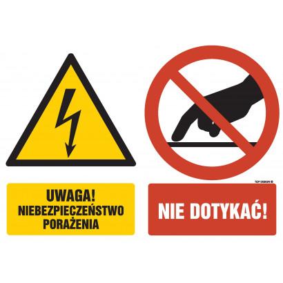 Znak - Uwaga niebezpieczeństwo porażenia Nie dotykać GM058