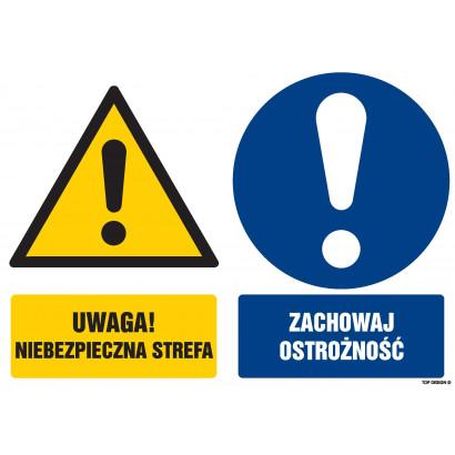 Znak - Uwaga niebezpieczna strefa Zachowaj ostrożność GM101