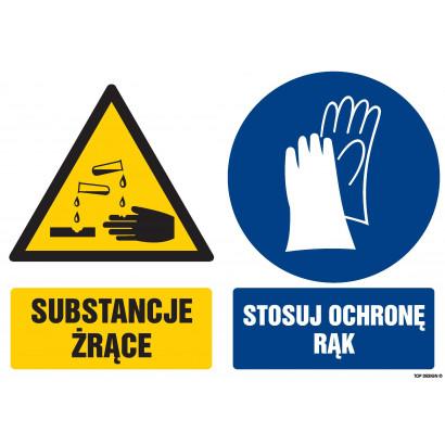 Znak - Substancje żrące Stosuj ochronę rąk GM103