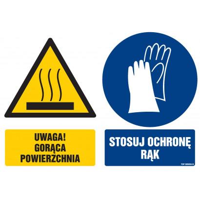 Znak - Uwaga gorąca powierzchnia Stosuj ochronę rąk GM104
