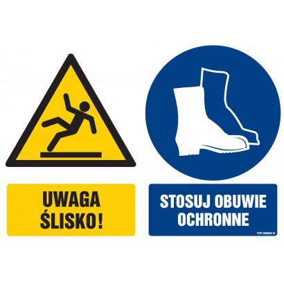 Znak - Uwaga ślisko Stosuj obuwie ochronne GM106