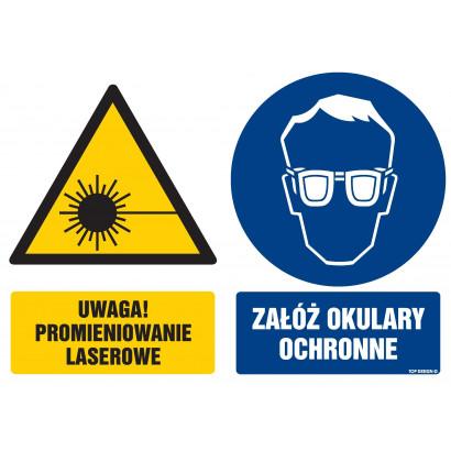 Znak - Uwaga promieniowanie laserowe Załóż okulary ochronne GM109