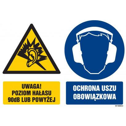 Znak - Uwaga poziom hałasu 90 dB lub powyżej Ochrona uszu obowiązkowa GM111