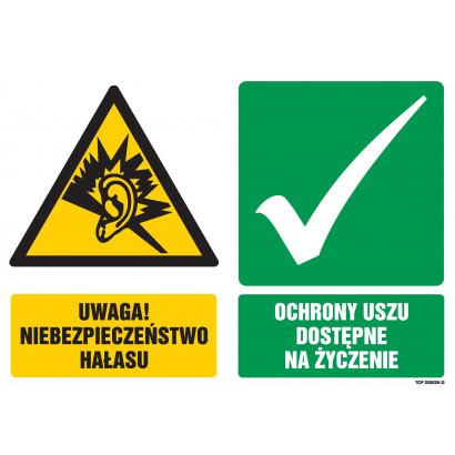Znak - Uwaga niebezpieczeństwo hałasu Ochrony uszu dostępne na życzenie GM401