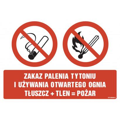 Znak - Zakaz palenia tytoniu i używania otwartego ognia tłuszcz + tlen = pożar GM500
