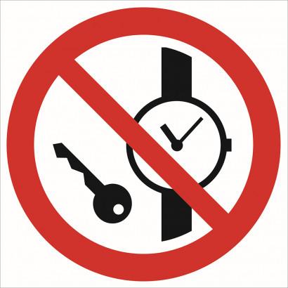 Zakaz wstępu z przedmiotami metalowymi i zegarkami