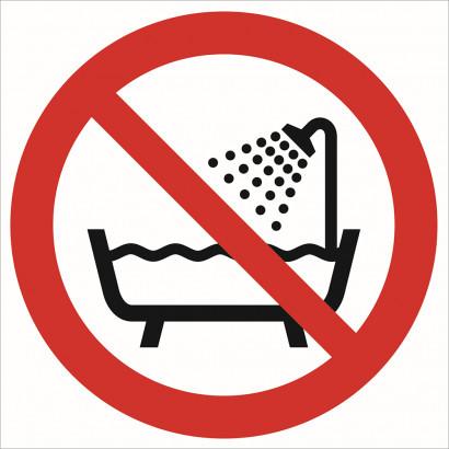 Zakaz używania urządzenia w wannie pod prysznicem i w zbiornikach z wodą