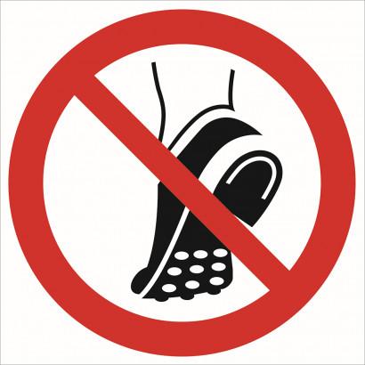 Zakaz wchodzenia w obuwiu z metalowa podeszwą