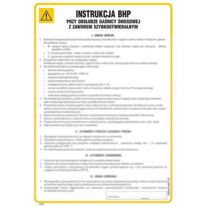 Instrukcja BHP przy obsłudze urządzenia gaśniczego typu GSE-2xW do gaszenia sprzętu elektonicznego i