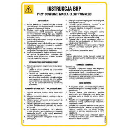 Instrukcja BHP przy obsłudze magla elektrycznego