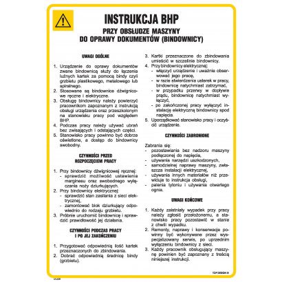 Instrukcja BHP przy obsłudze maszyny do oprawy dokumentów