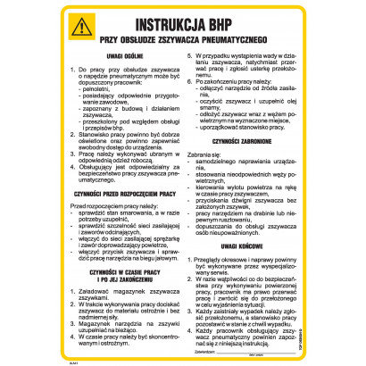 Instrukcja BHP przy obsłudze zszywacza pneumatycznego