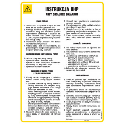 Instrukcja BHP przy obsłudze solarium