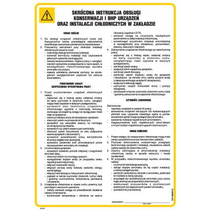 Skrócona instrukcja obsługi, konserwacji i BHP urządzeń oraz instalacji chłodniczych w zakładzie