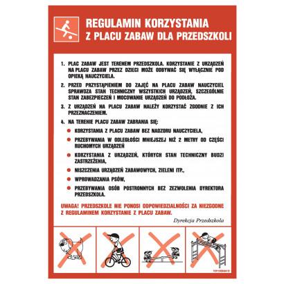 Regulamin korzystania z placów zabaw dla przedszkoli