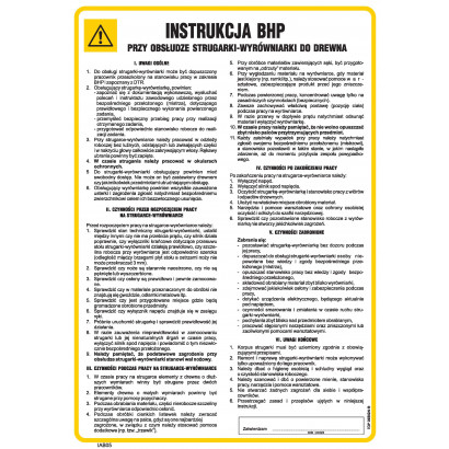 Instrukcja BHP przy obsłudze strugarki-wyrówniarki do drewna