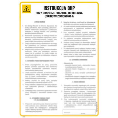 Instrukcja BHP przy obsłudze frezarki do drewna (dolnowrzecionowej)